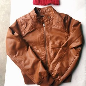 Forever21 Brown zip down leather motorcycle jacket